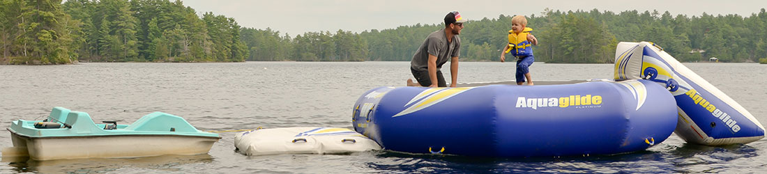 water trampoline at Blue Mountain Lodge in the Kawarthas on Lake Kasshabog